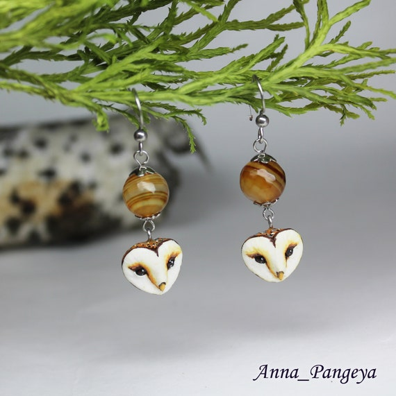 Earrings with an owl and natural agate