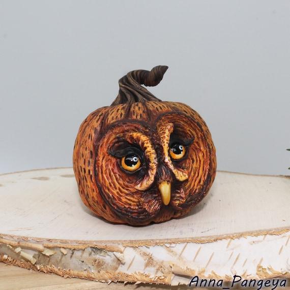 Owl statuette Pumpkin owl figurine