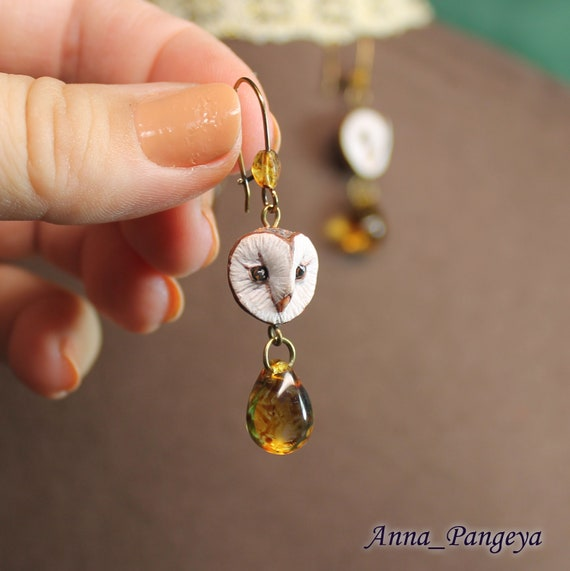 Earrings with owls. Drop of sunset