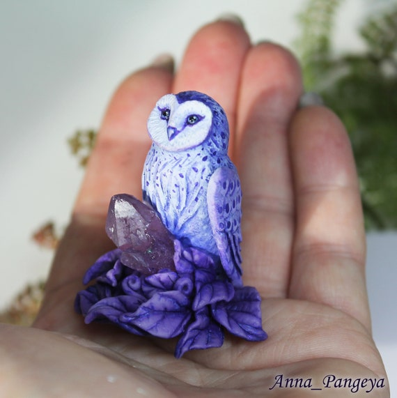 Brown Owl with Purple Crystal