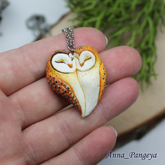 Pendant in love with owls. Owls jewelry