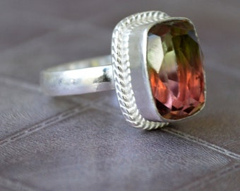 Tourmaline Ring cushion cab natural green tourmaline sterling silver ring tourmaline gemstone Solid silver ring Jewelry