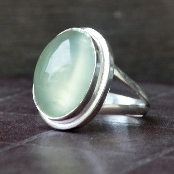 Genuine Gems Round Faceted Prehnite Rings Wedding Jewelry fine Seller Gift for Thanks Giving Oval Cut 925 Silver Green Prehnite Genuine Gems Ring