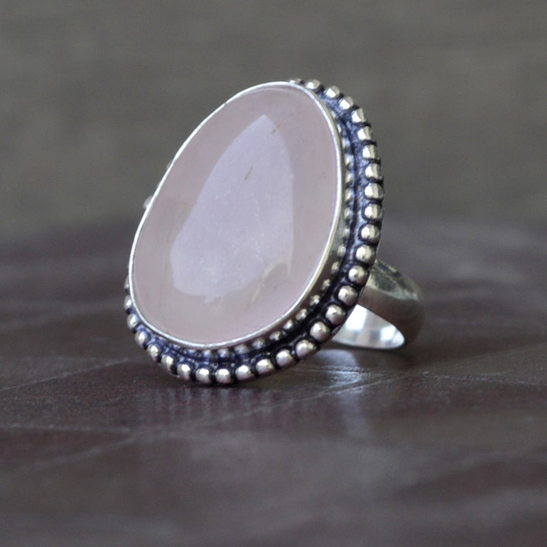 Rose Gold Fill Jewelry Rose Quartz ring Natural Pink Rose Quartz Gemstone Ring 14K Yellow Gold 925 sterling silver Ring