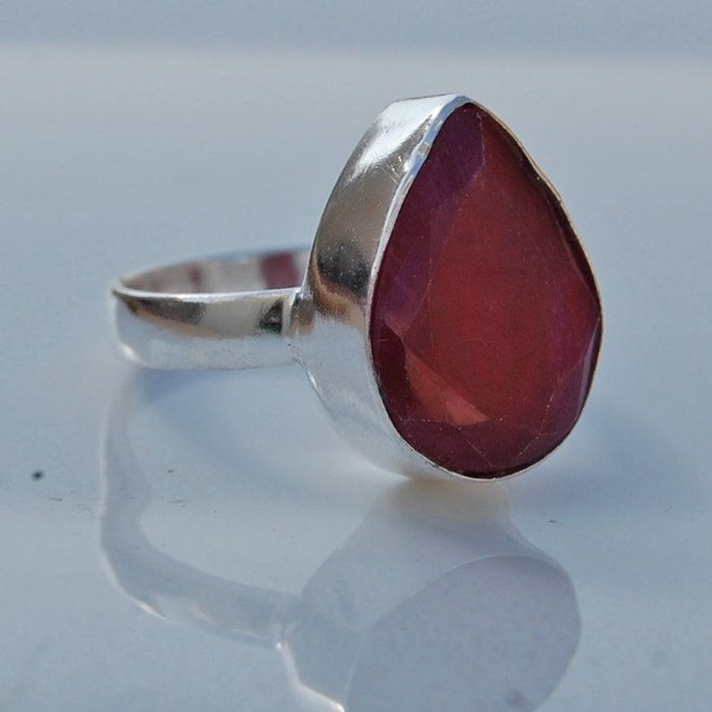 Oval Faceted Red Ruby handmade Ring Jewelry natural Ruby ring Natural Ruby 925 sterling silver gift Ring