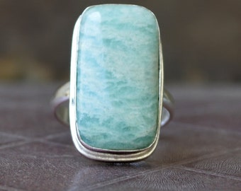 Amazonite  ring,  Cushion Cab Green Amazonite Gemstone Ring , 925 sterling silver Ring,  14K Yellow Gold Fill, Rose Gold Fill Jewelry