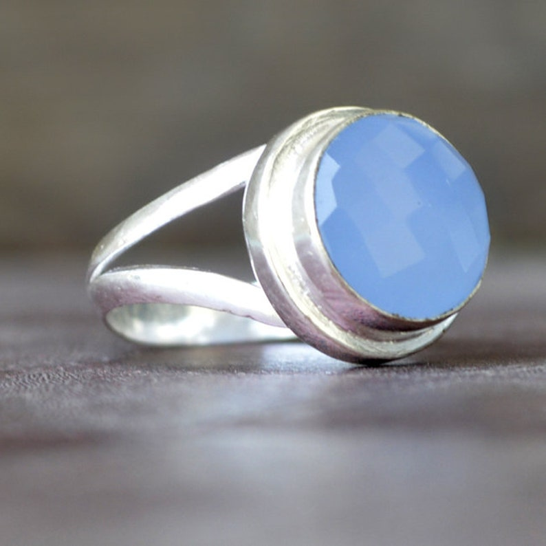 925 sterling silver Ring 14K Yellow Gold Fill Chalcedony ring Rose Gold Fill Jewelry Round Cab Faceted Blue Chalcedony Gemstone Ring