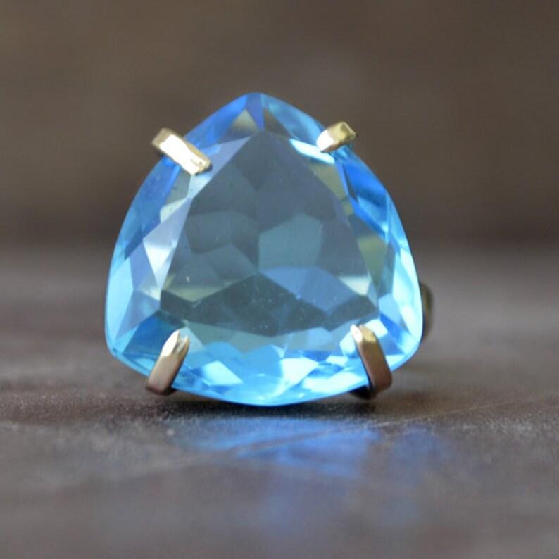 925 sterling silver Ring 14K Yellow Gold Rose Gold Fill Jewelry Triangle shape Blue Quartz Gemstone Ring Blue Quartz ring