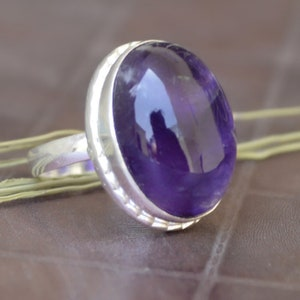 Cushion Faceted Purple Amethyst Gemstone Ring 14K Yellow Gold Fill Rose Gold Fill Jewelry 925 sterling silver Ring Amethyst ring