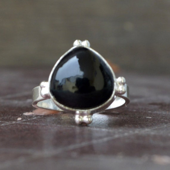Black Onyx Black Gems Silver Ring Supply 925 Sterling Silver Bonnie Genuine Black Ring