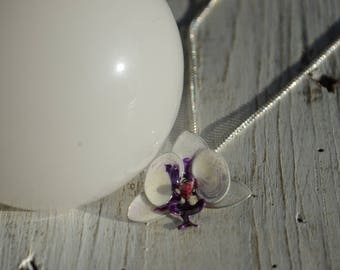 Purple and white Orchid pendant