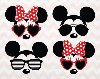 Disney SVG Clip Arts, Minnie Mouse SVG Sunglasses, Mickey Svg Silhouette Sunglasses,Disney Silhouette SVG for Cricut and Silhouette Studio
