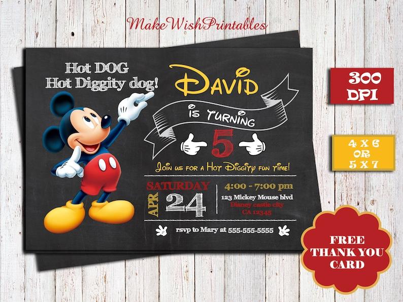 Mickey Mouse Printable Birthday Invitation Free Thank You