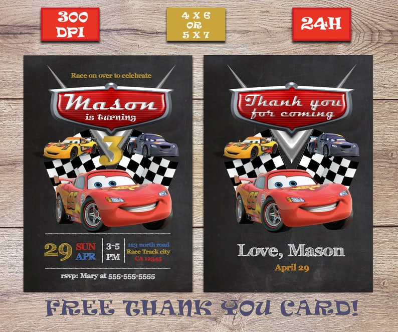 Printable Disney Movie Cars Birthday Invite FREE Thank You Card Lightning McQueen 3 PartyFAST CUSTOMIZATION