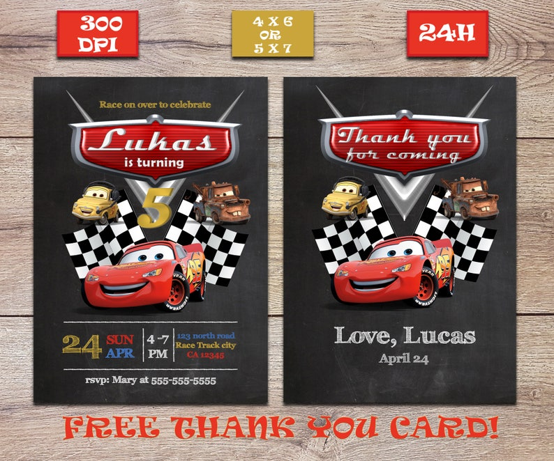 Personalized Disney Cars Birthday Invitation FREE Printable