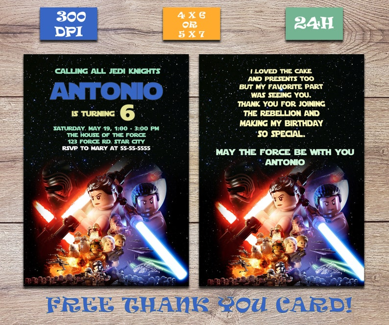 photo relating to Star Wars Thank You Cards Printable Free titled Star wars Lego birthday invitation, Star wars thank by yourself card,Printable May well the strain be with your self invite,Jedi Lego Invite,Cost-free Thank your self card