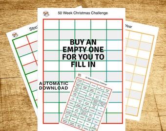 50 weeks until Christmas printout Planner,