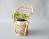 Rattan plantpot, plant stand willow braid, small peacock chair, boho flower pot