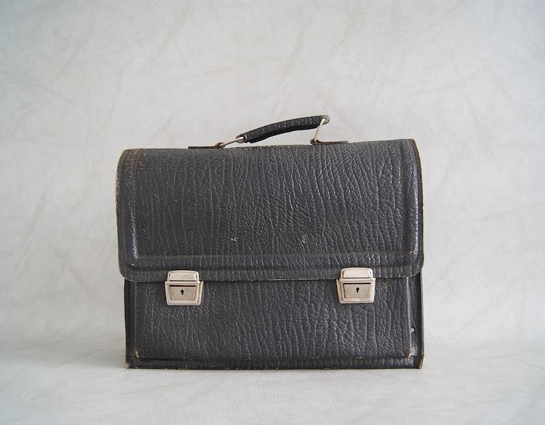 Vintage briefcase black leather work bag