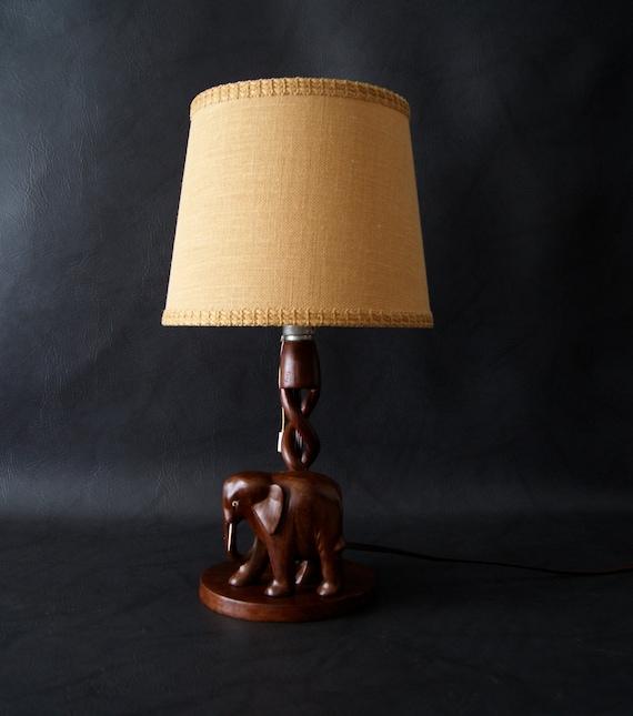 Tischlampe Elefant Holz Art Deco Grosse Tischlampe Holzlampe Etsy