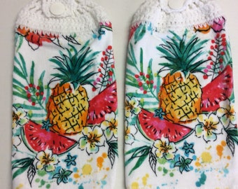 A Set of Kitchen Towels, Pineapples, watermelon, Spring Flowers