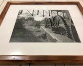 Lehigh Canal lock gears with Lehigh Valley Railroad bridge print in reclaimed wood frame - 16x20