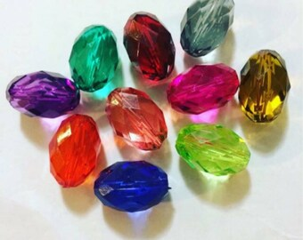 Chunky Translucent Oval Beads 32mm