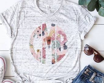 a1ae76f63 Personalized Floral Monogram Shirt / Monogram T-shirt / Sublimation Monogram  shirt