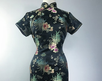 black silk floral cheongsam