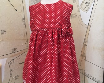 88345555dcfd Baby party dress, red poka dot.