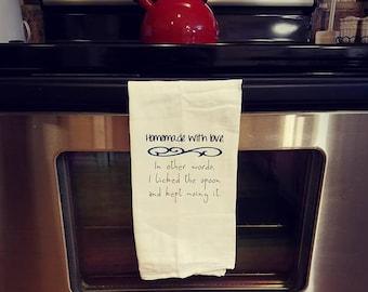 Funny Homemade with Love Tea Towel