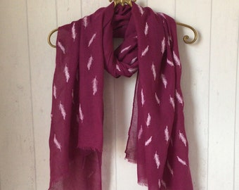 Flower feather scarf scarves floral pink burgundy blue black ladies present gift