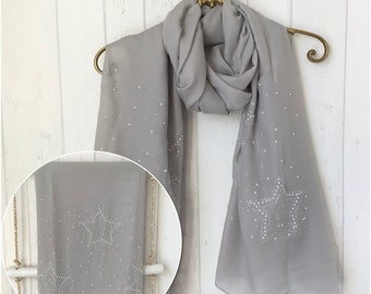 stars grey Neck scarf with name