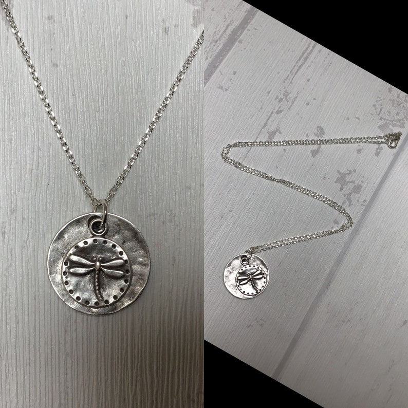 247 Dragonfly Hammered Necklace  925 Sterling Silver Chain  Antique Silver Dragonfly Pendant  Hammered Dragonfly Necklace