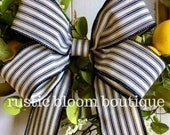 Black and cream bow farmhouse bow french country bow wreath bow floral arrangement bow