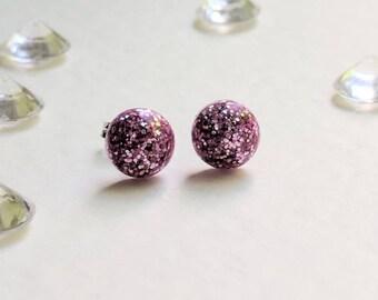 Pink glitter stud earrings, studs, girly, ladies, feminine, birthday, gift, pretty, cute, women, girl, fashionable, handmade, jewellery