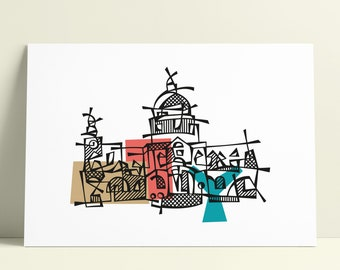 London St Paul's Cathedral Illustration Art Wall Decoration