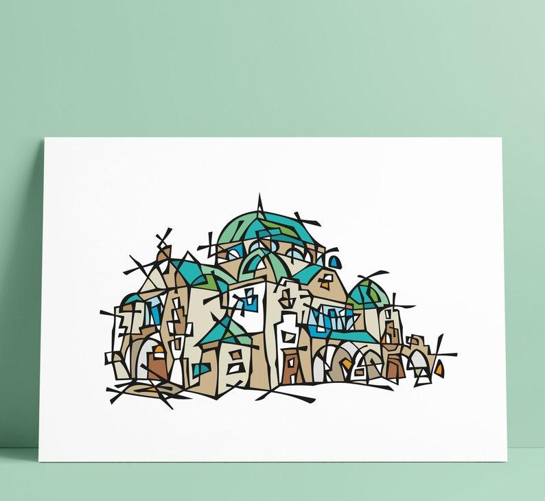 Trencin Synagogue Illustration Art Wall Decoration image 0