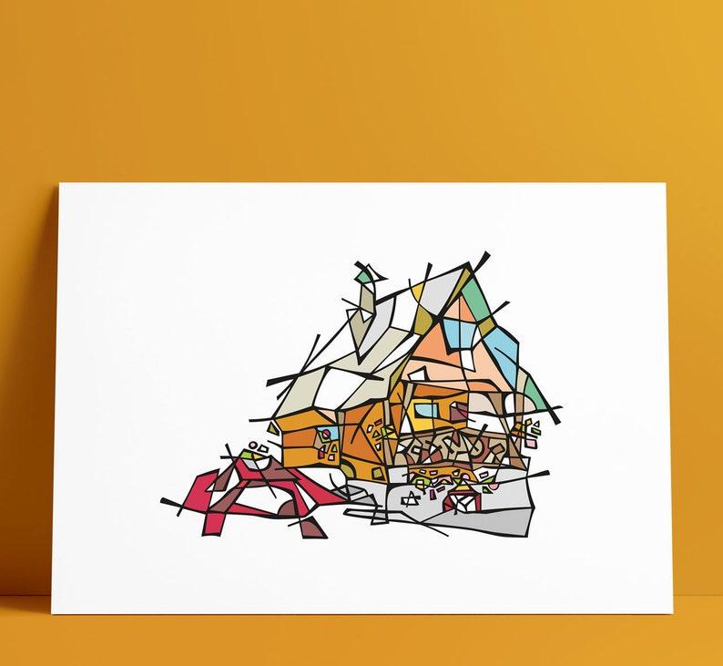 Kubrica Family Cottage Illustration Art Wall Decoration image 0