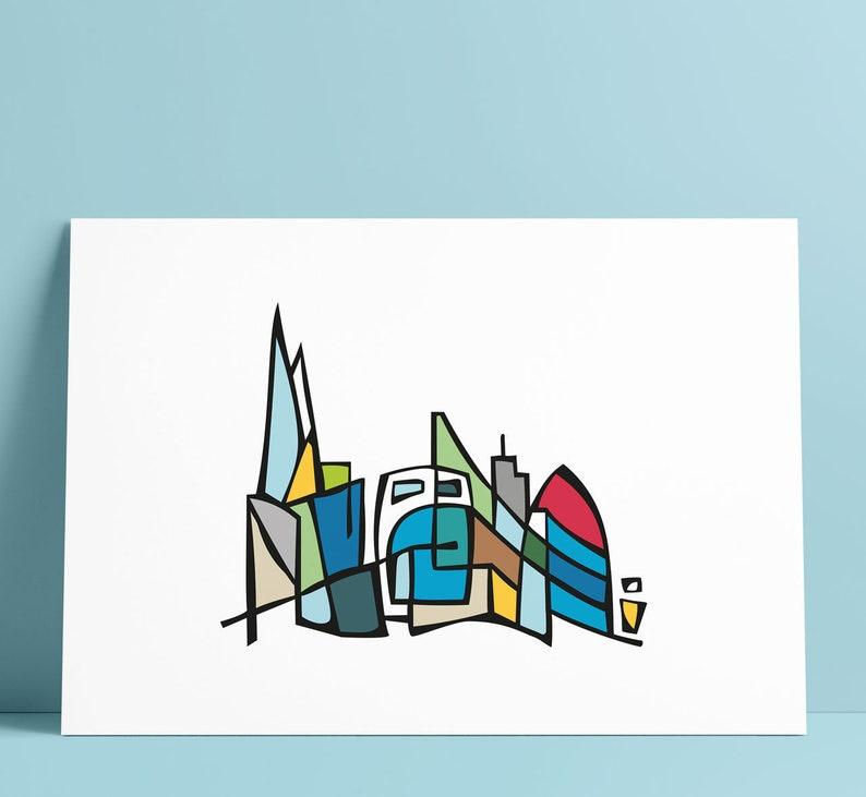 London Skyline Illustration Art Wall Decoration image 0