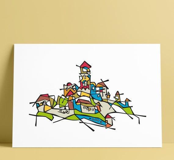 Trencin Castle Illustration Art Wall Decoration