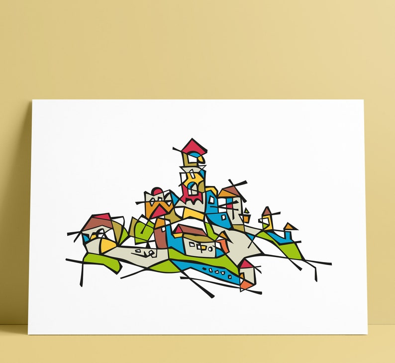 Trencin Castle Illustration Art Wall Decoration image 0