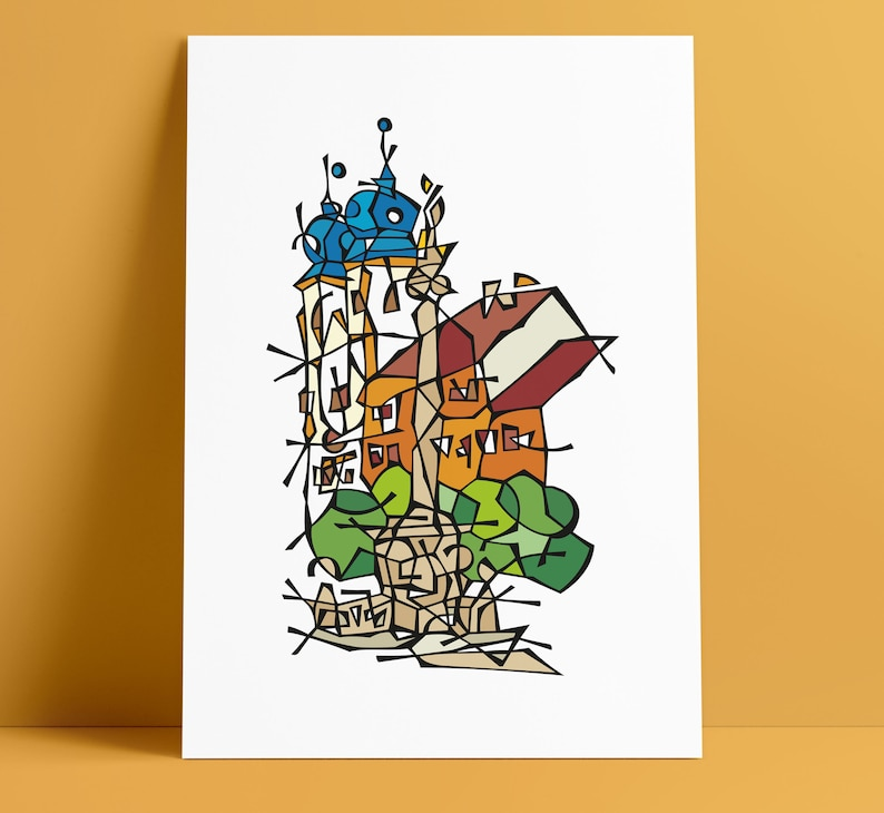 Trencin Mierove Square Illustration Art Wall Decoration image 0