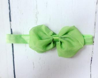 Green Chiffon Bow Headband