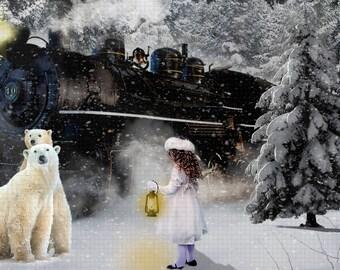Polar BEAR Express Digital Backdrop Nick Whimsical Christmas or Holiday Composites For Photographers Polar Bear North Pole Snow Santa