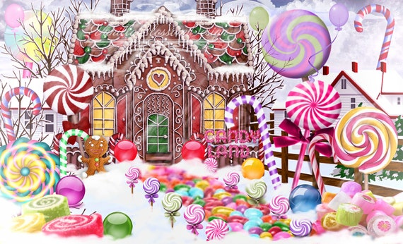 Christmas Candyland Backdrop.Christmas Digital Backdrop Background Candyland Sweets Candy Snow Photography Prop
