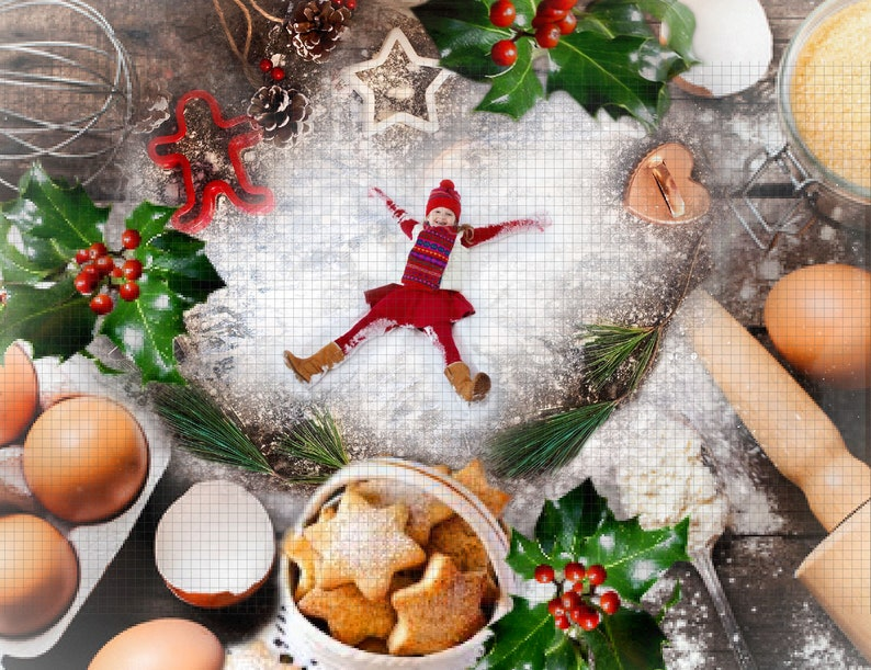 Christmas Digital Backdrop Background Baking Cookies Snow Angel Photographic Prop Photography