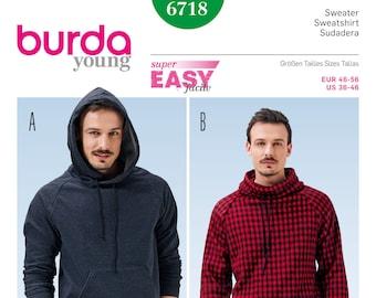 Burda PDF Sewing Pattern  6718    Men s Pullover Hoodie    Sizes eu 46-56    Sizes us 36-46    Pattern PDF Instant Download 96e167612