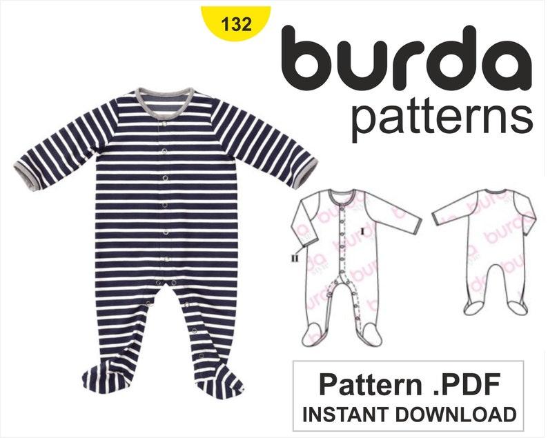 f0d5876a6e59 Burda PDF Sewing Pattern 132    Baby Onesie Romper Suit