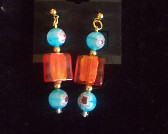Blue & Red Floral Handmade Earrings